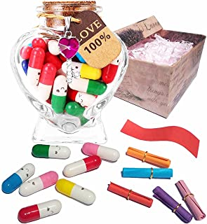 Lelongma Capsule Letters Message in a Bottle with Gift Box Love Capsules Notes Message Pills Message Capsule Letter for Yo...