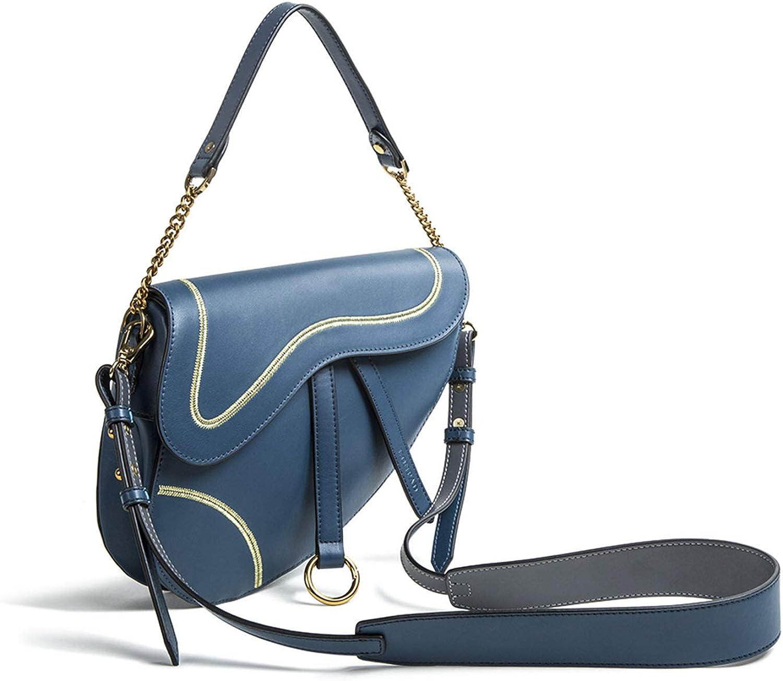 HWX Damenleder-Handtasche, 2019 Neue Retro Retro Retro O Word Satteltaschen Schulterverpackung Messenger Bag,Blau,24  20  6cm B07PHSBGW9 6f3f33