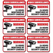 """(6 Pack) 24 Hour Video Surveillance Sign, 2½x3½"""" 4 Mil Sleek Vinyl Decal Stickers Weather Resistant Long Lasting UV Protected And Waterproof Made In USA by SIGO SIGNS"""