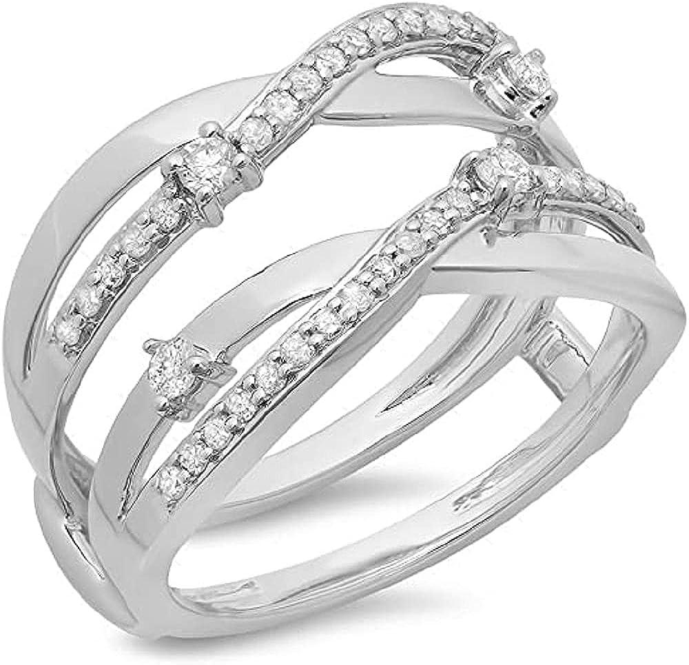 14K White Gold quality assurance Translated Finish Round Diamond Anniversary Wedding B Ladies