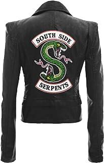 Riverdale Chaqueta de Auténtica Cuero Mujer Corto Adolescente Niña Serpientes Cuero Coole Leder Abrigos Chaqueta de Invier...