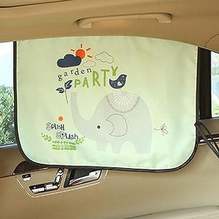 VIYOR 車用カーテン 日よけ 後部座席 車窓サンシェード 可愛い UVカット カーテン ゾウ