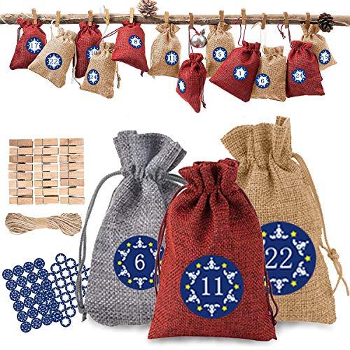 24 calendari dell'Avvento da riempire Sacchetti di stoffa, sacchetti di iuta Calendario dell'Avvento 2020, sacchetti regalo di Natale con 48 adesivi con numeri dell'Avvento(14 * 10 cm)