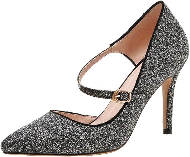 Melady Women Fashion Glitter shoes D'Orsay Pumps Stiletto Heels