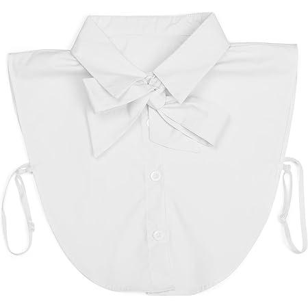 styleBREAKER cuello de blusa con tapeta de botones y lazo, cuello para blusas y jerséis, blusa de nudo corredizo señora 08020003