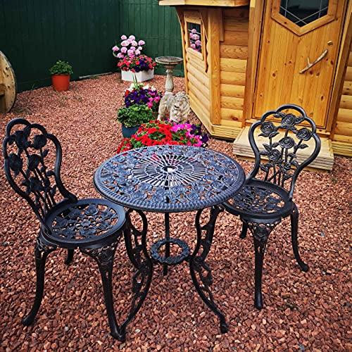 Lazy Susan™ London Rose 60cm Round 2 Seater | Sand-cast Aluminium Garden Furniture Set | Weatherproof | Maintenance Free | Matching Bistro Chairs | Antique Bronze Finish