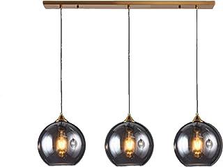 MZStech Przemysłowa lampa wisząca w stylu retro, 3-drożna lampa wisząca (lustro szare, paski)