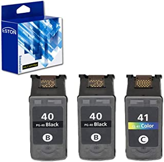 ESTON 3Pack Remanufactured Replacement for PG-40 Black and CL-41 Color Ink Cartridges Fit for Pixma Series Printers