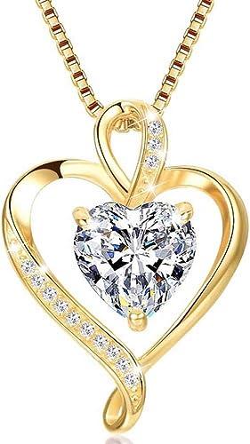 LAVUMO Collares Mujer Amor Colgante de Corazón Oro Rosa Plata de Ley 925 Collares de Mujer,Joyas Regalos para Esposa,...