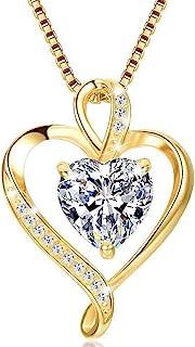 Collar de Mujer Amor Colgante de Corazón Oro Rosa Plata de Ley 925 Collares de Mujer,Joyas Regalos para Esposa, Mamá, Novi...