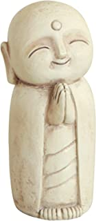 Buddha Groove Healing Jizo Monk Statue for Indoor Outdoor Use in Stone-Wash Finish (Cream)