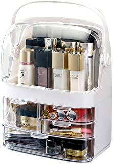 Makeup Cosmetic Organizer Large Acrylic Box Cosmetics Storage Display Holder with Transparent Drawers,Portable Handle,Fully Open Waterproof Dustproof Clear Lid,Bathroom Dresser Countertop,White