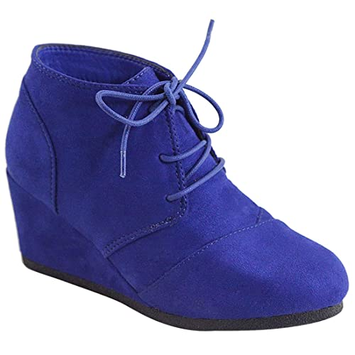91c3a8269641 MVE Shoes Women s Lice Up Ankle Booties - Low Wedge Faux Leather Comfy Shoes