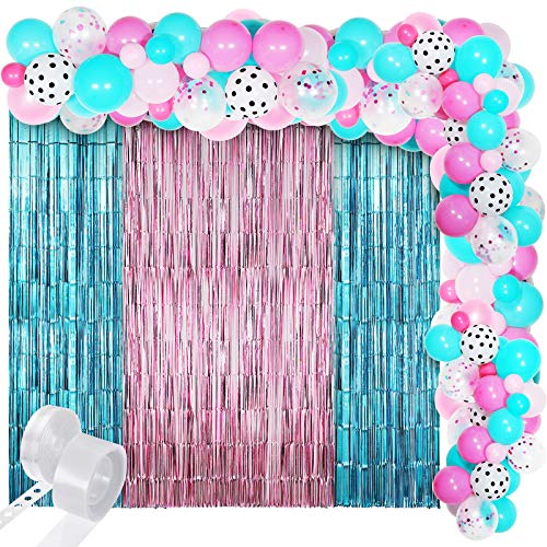 Surprise Party Balloons Decoration Garland Kits, Pink Rose Red Sea Foam Blue White Polka Dots Confetti Balloons with Pink Blue Metallic Tinsel Curtains for Kids Girls Surprise Birthday Supplies