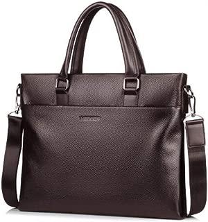 Leather Men's Handbag, Casual Shoulder Slung Headgear Leather Computer Business Briefcase,Brown
