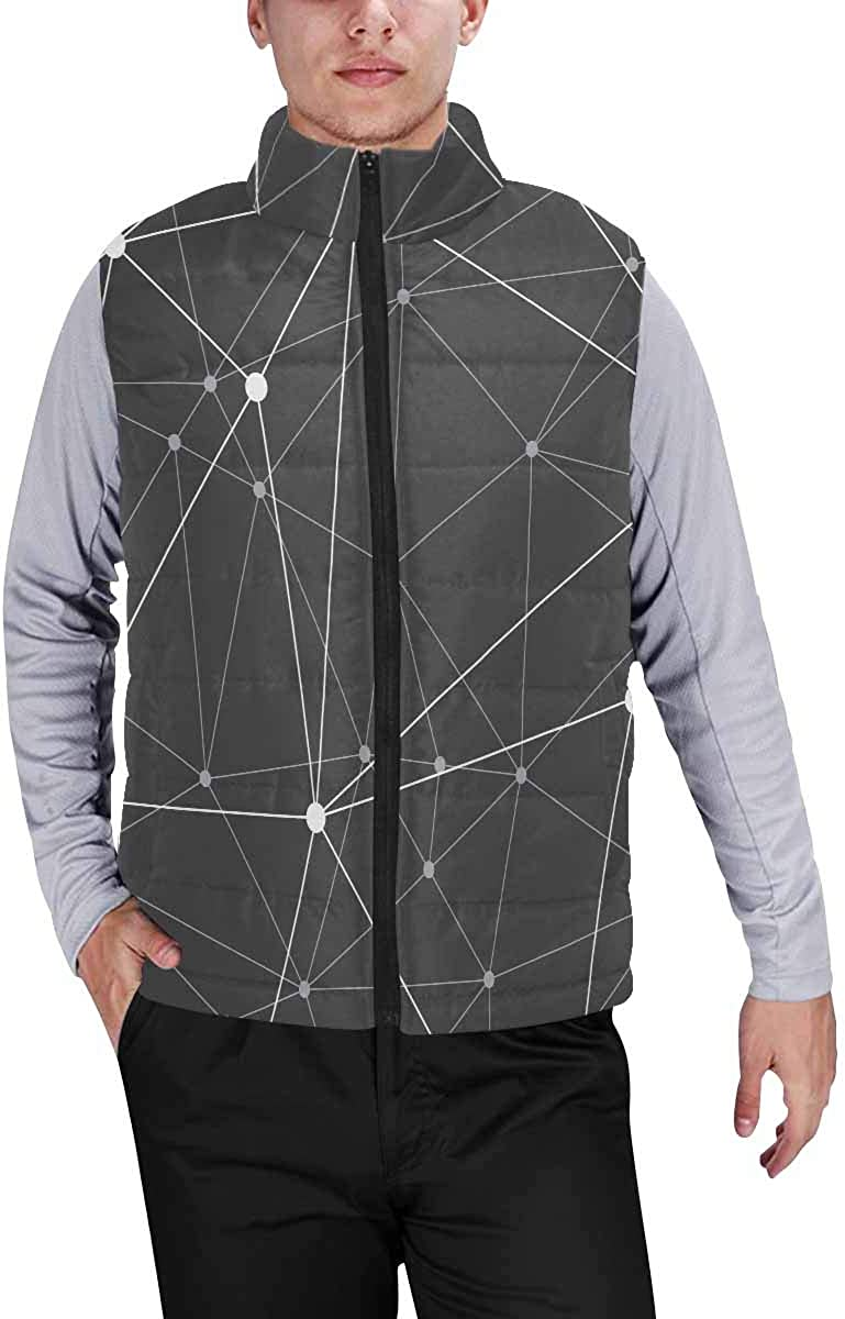 InterestPrint Winter Lightweight Personality Design Padded Vest for Men Golden Lines Pattern