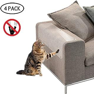 DQTYE 4 Pack Cat Scratch Protector Furniture Scratch Guards Autoadhesivo con pasadores giratorios Protegiendo la puerta de la tapicería del sofá, flexible, transparente y disuasorio con 20 pasadores