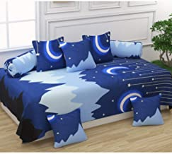 Nirmal Furnishings Cotton Printed Diwan Set of 8 Pieces, 5 Cushion Covers (16 * 16 inches) 2 Bolster Cover (31 inches) with Single bedsheet (60 * 90 inches Blue)