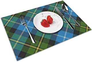 NBteach Scots Style Clan Macneil Tartan Plaid 4 Piece Set of Placemats Pc Party Decor Dining Room Home Ornament Table Food Mat Patio Xmas Kitchen Decorations Themed Print Pattern Picnic