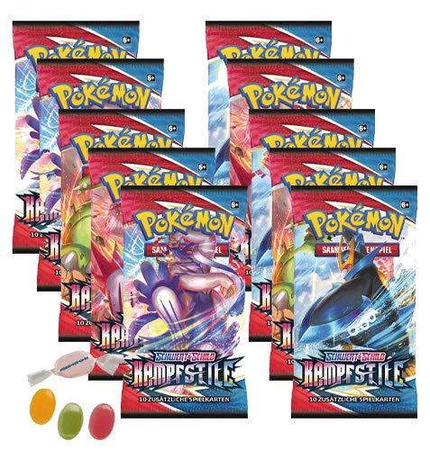 Pokemon Schwert & Schild - Kampfstile - 10 Booster - Deutsch zusätzlich 1 x Sticker-und-co Fruchtmix Bonbon
