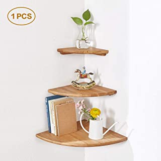 INMAN Wooden Corner Shelf, 1 Pcs Round End Hanging Wall Mount Floating Shelves Storage Shelving Table Bookshelf Drawers Display Racks Bedroom Office Home Décor Accents (Oak, 7