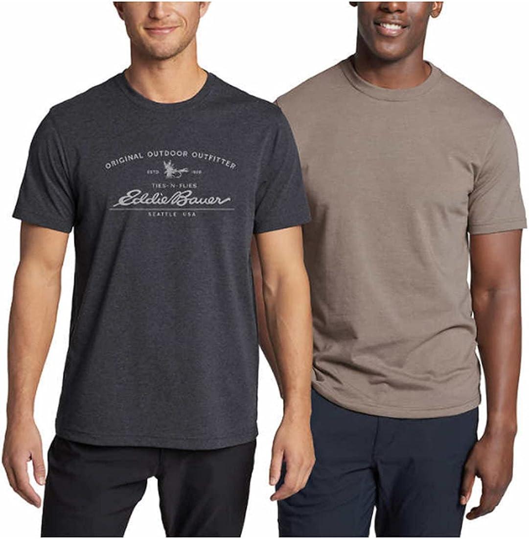 Eddie Bauer Men's Graphic & Solid Tee Shirt, 2-Pack