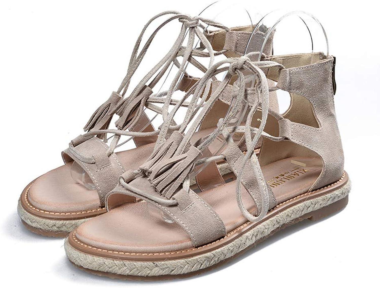 KRWTY Summer Women Lace-Up Flats shoes Ladies Roman Sandals