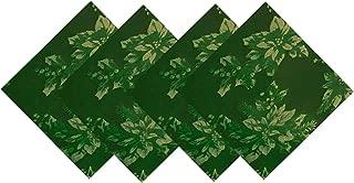 Poinsettia Holiday Metallic Damask Fabric Christmas Napkin Set - 4 Piece Napkin Set, Hunter/Gold