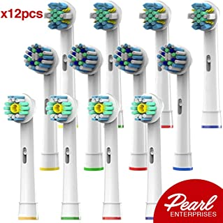 Pearl Enterprises Compatible Replacement Brush Heads - Pack Of 12 Electric Toothbrush Assorted Heads Fits Many Bases - Try Them All, You'll Find Your Favorite!