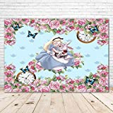 Alice in Wonderland Tea Party Backdrop 7x5 Spring Pink Flowers Blue Butterfly Baby Shower Backdrop for Girl Princess Alice Baby Shower Backgrounds