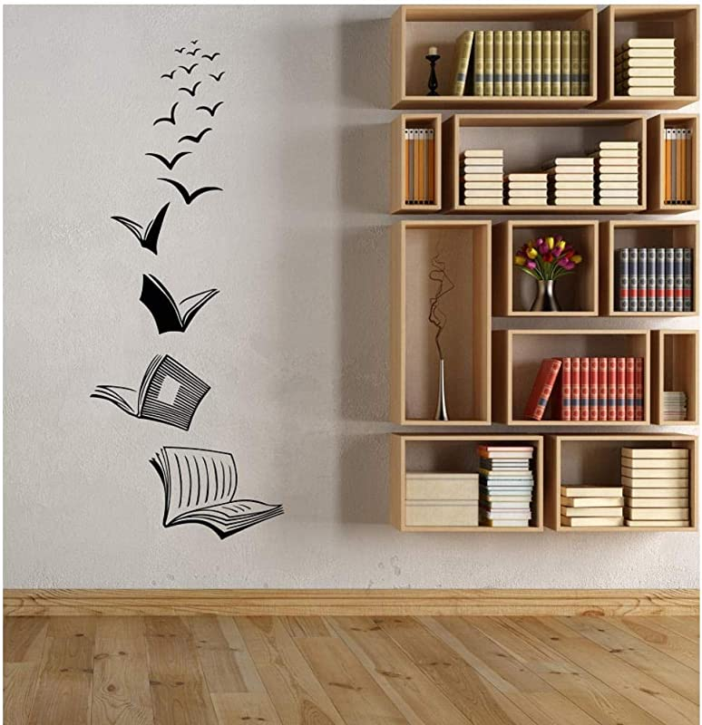 Wall Stickers Murals Vinyl Wall Decals Open Book Reading School Library Classroom Study Bedroom Home Decor Art Wall Sticker 22X57Cm
