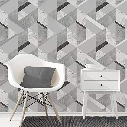 Fine Decor Marblesque Geometric Marble Wallpaper Grey and Silver - FD42302