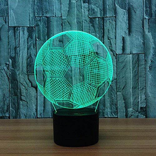 XiYunHan Nachtlicht Fußball 3D-Effekt Acryl Touch Cartoon LED Bunte Tischlampe Fantasy Lampe Blinkende Kunst Skulptur Lampe Schlafzimmer Schreibtisch Leuchtende Geschenk Energieeinsparung