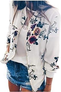 RkYAO Womens O-Neck Fashional Floral Spring Long-Sleeve Zipper Jacket