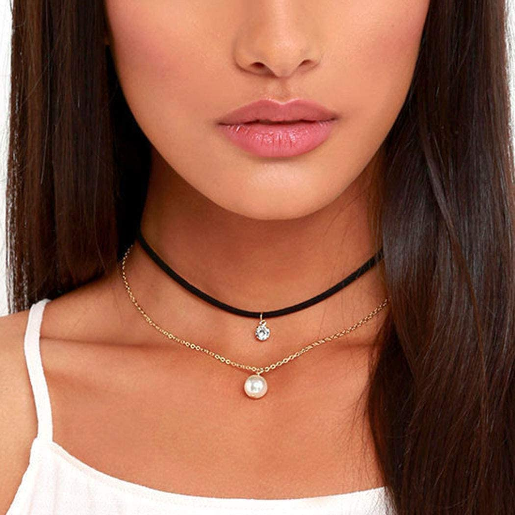 Hannah Boho Pearl Layered Necklaces Gold Rhinestone Pendant Choker Necklace Flannel Velet Chain Jewelry for Women and Girls