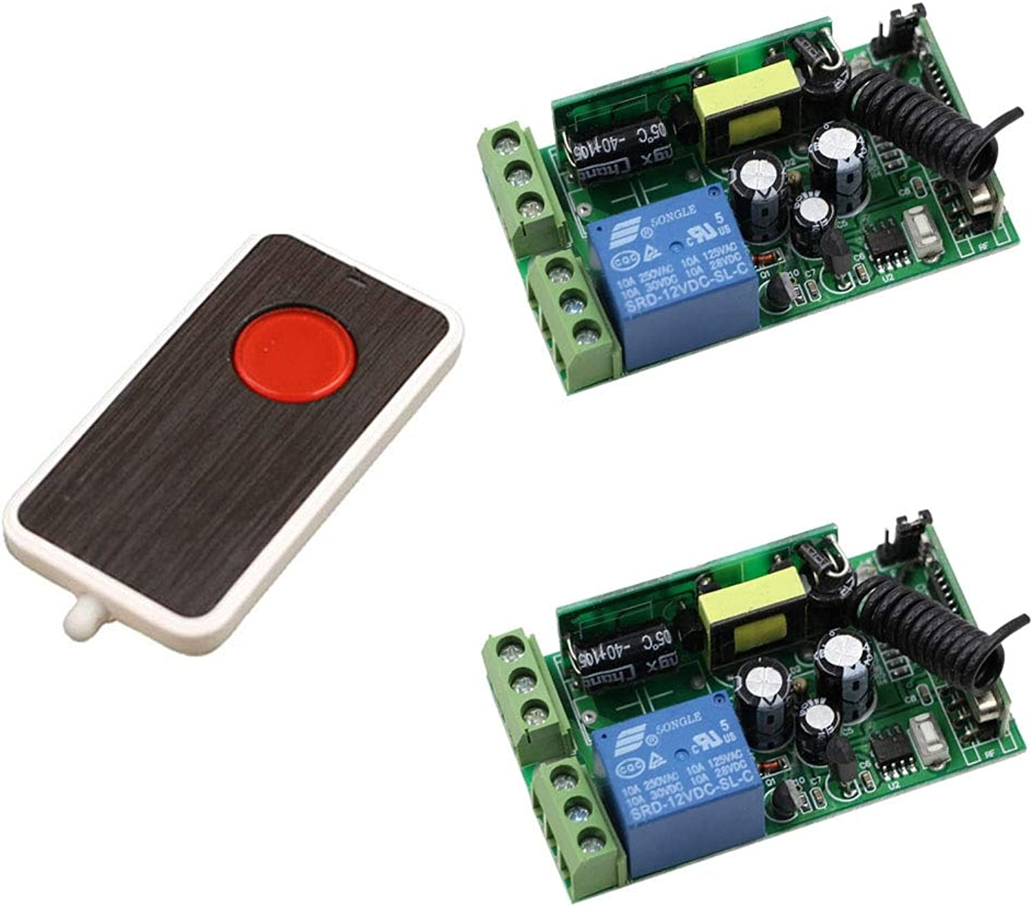 New AC 85V 220V 110V 250V 1CH 10A Radio Controller RF Wireless Remote Control Switch One Button Transmitter and 2pcs Receivers  (color  433mhz)