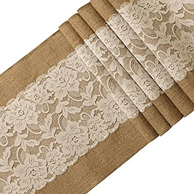 Ling's moment 12x108 Inch Burlap and Lace Table Runner Spring Easter Decorations Country Rustic Barn Wedding Decorations, Farmhouse Decor, Baby & Birdal Shower Decoration