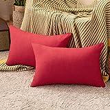MIULEE Fundas de Cojines Almohada Caso de la Cubierta del Amortiguador Decorativo Algodón y Lino Duradero Decoración para Sofá Exterior Hogar Cama 2 Piezas 30x50cm Rojo