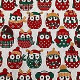 Stoff Meterware Baumwolle Eulen Weihnachten Weihnachtsstoff