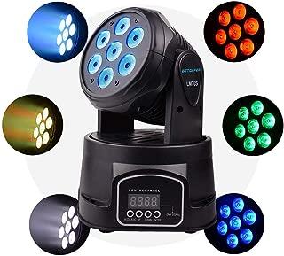 Happybuy 1Pcs 7x10W Moving Head Light Stage lighting Moving Head Light RGBW 4 in 1 DMX512 with 4 Control Mode for DJ KTV Disco Party Ballroom (1 Pcs 7x10W)
