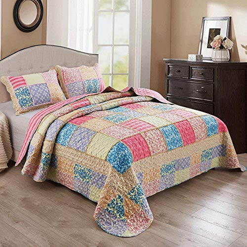 Patchwork Coverlet Throws Double Queen Size 220x240cm Polyester Cotton Quilted Comforter Bedspread Pastoral Style 3PCS Bedding All Season Multifunction Washed Bed Cover + 2 Pillowcase 50x70cm,A