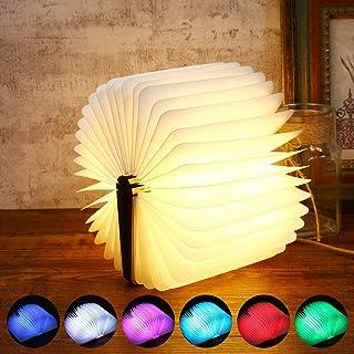 Sailnovo Lámpara LED Lámpara de Libro Lámpara de Mesa Luces Portátiles y Plegables de Madera hasta 360° para Dormir Leer Decorar Regalo Original (9x12x2.5cm)