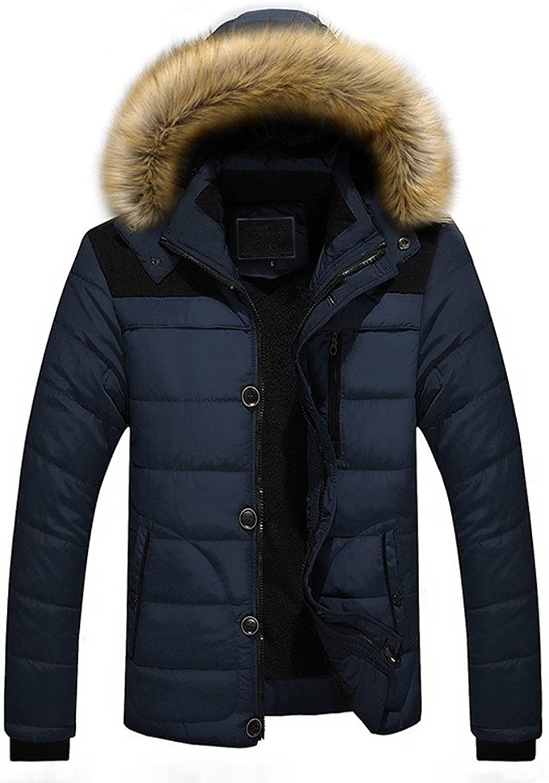 Balakie Mens Winter Outdoor Warm Thick Jacket Solid Zipper Button Fur Hood Coats
