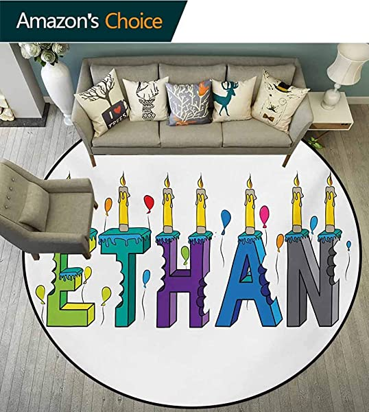 RUGSMAT Ethan Modern Machine Round Bath Mat Celebration Themed Candles And Bitten Cake Popular Male Name Birthday Party Image Non Slip No Shedding Kitchen Soft Floor Mat Diameter 35 Inch