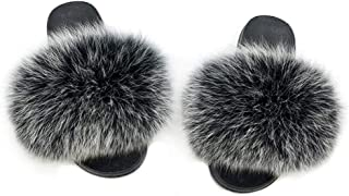 Fur Slippers Slides for Women Open Toe Real Fox Fur Slippers Girls Fluffy House Slides Outdoor(Black)