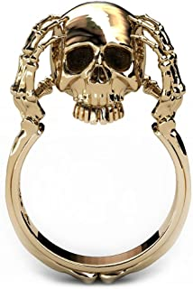Skull Rings for Women 14K Gold Statement Fun Skull Claw Band
