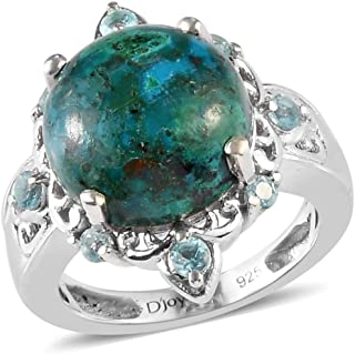 Promise Ring 925 Sterling Silver Platinum Plated AAA Chrysocolla Apatite Jewelry for Women Size 5