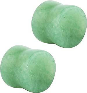 3mm - 25mm Semi-Precious Jade Ear Gauges, Solid Gemstone Double Flared Saddle Plug Earrings Sold as Pairs