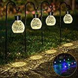 4 Pack Hanging Solar Lights Set with Shepherd Hooks, Outdoor Color Changing Solar Powered Waterproof Landscape Lanterns with Crackle Glass Ball Design Pathway Decoration