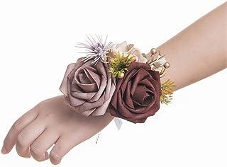 Ling`s moment Burgundy Wrist Corsage Bracelet, Set of 6 Vintage Wedding Corsage Hand Flowers for Bridesmaid Bridal Shower Wedding Flower Corsage Ribbon Prom Corsage